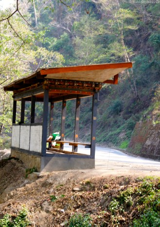 A bus stop in the middle of no where on the highway to Bumthang