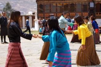 Dance practise in progress at the Paro Dzong