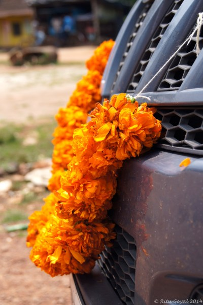 Our ride bedecked on Dushera day!